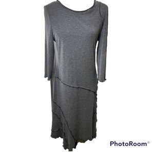 Joseph Ribkoff Simple Grey 3/4 Sleeve Layer Dress Sz 14